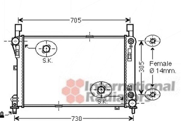 Radiateur, refroidissement du moteur - VAN WEZEL - 30002478