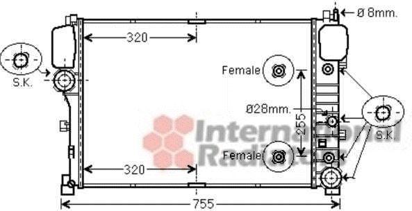 Radiateur, refroidissement du moteur - VAN WEZEL - 30002492