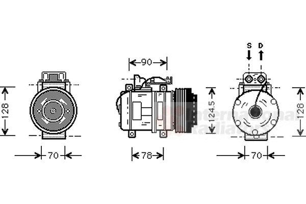 Compresseur, climatisation - VAN WEZEL - 3000K052