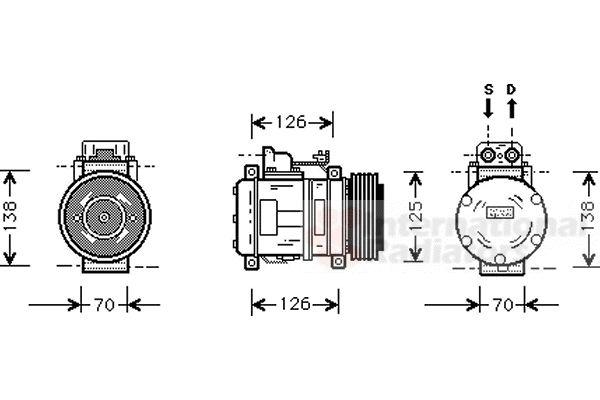 Compresseur, climatisation - VAN WEZEL - 3000K057