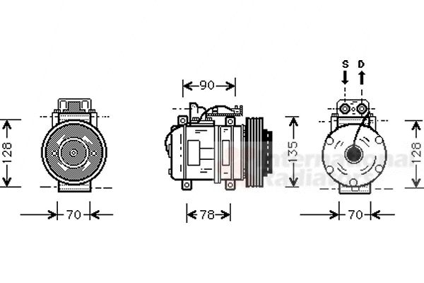 Compresseur, climatisation - VAN WEZEL - 3000K062