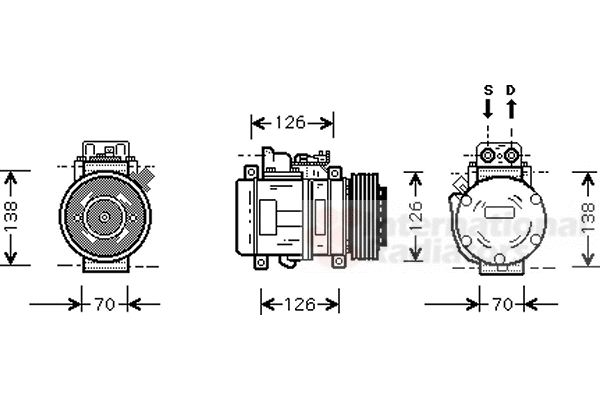 Compresseur, climatisation - VAN WEZEL - 3000K084