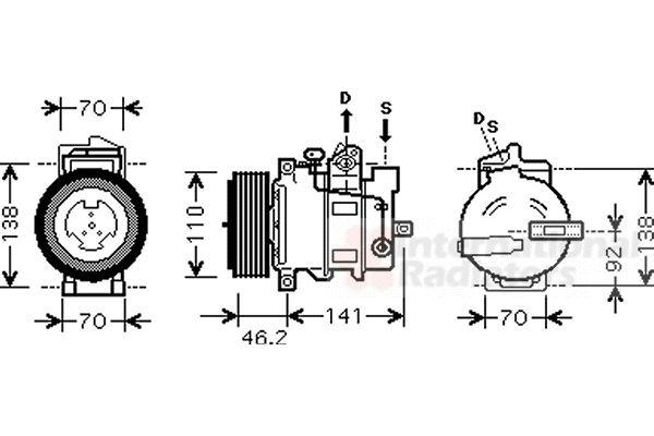 Compresseur, climatisation - VAN WEZEL - 3000K091