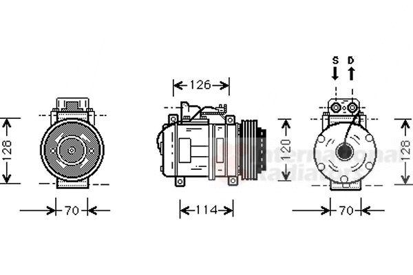Compresseur, climatisation - VAN WEZEL - 3000K274