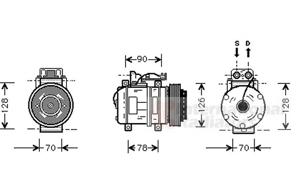Compresseur, climatisation - VAN WEZEL - 3000K275