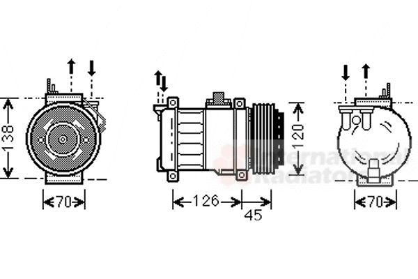 Compresseur, climatisation - VAN WEZEL - 3000K276