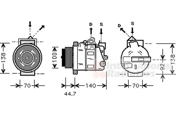 Compresseur, climatisation - VAN WEZEL - 3000K351