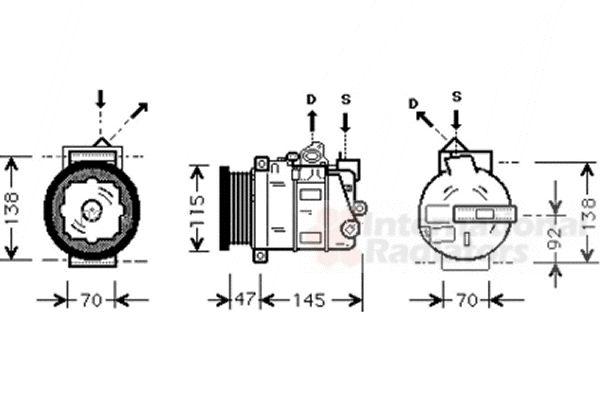 Compresseur, climatisation - VAN WEZEL - 3000K390