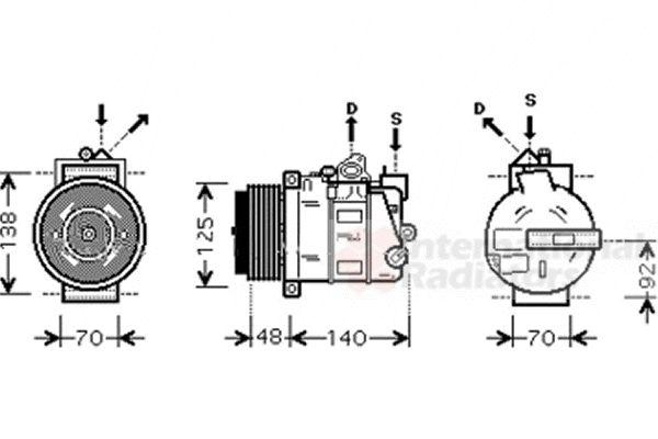 Compresseur, climatisation - VAN WEZEL - 3000K393
