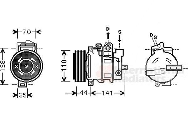 Compresseur, climatisation - VAN WEZEL - 3000K401