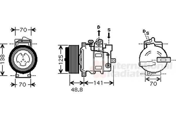Compresseur, climatisation - VAN WEZEL - 3000K426