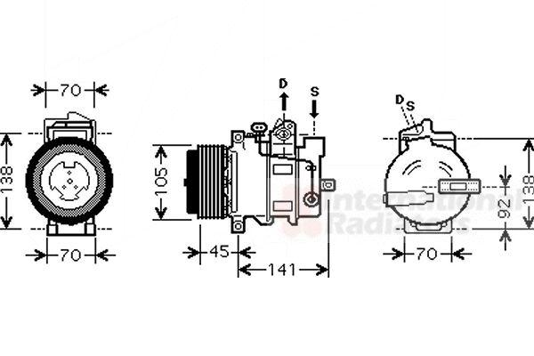 Compresseur, climatisation - VAN WEZEL - 3000K429