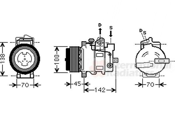 Compresseur, climatisation - VAN WEZEL - 3000K430
