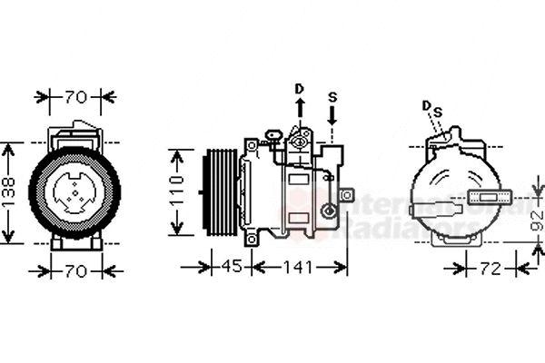 Compresseur, climatisation - VAN WEZEL - 3000K432