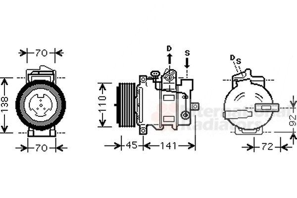 Compresseur, climatisation - VAN WEZEL - 3000K433