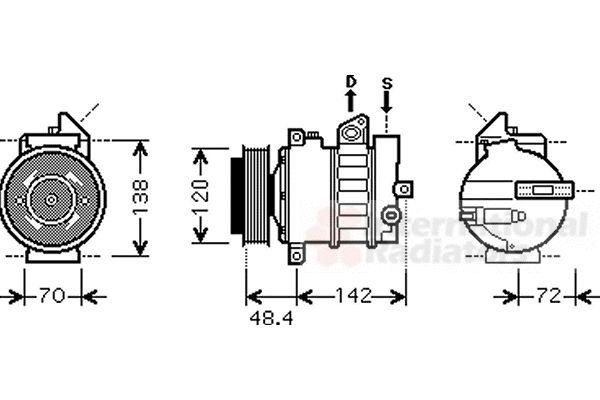 Compresseur, climatisation - VAN WEZEL - 3000K437