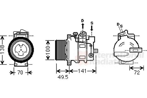 Compresseur, climatisation - VAN WEZEL - 3000K476