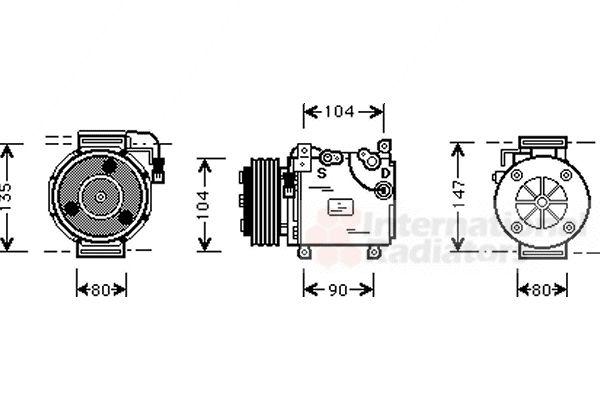 Compresseur, climatisation - VAN WEZEL - 3200K037