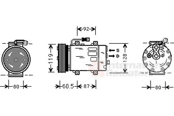 Compresseur, climatisation - VAN WEZEL - 3200K152