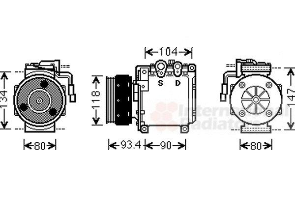 Compresseur, climatisation - VAN WEZEL - 3200K212