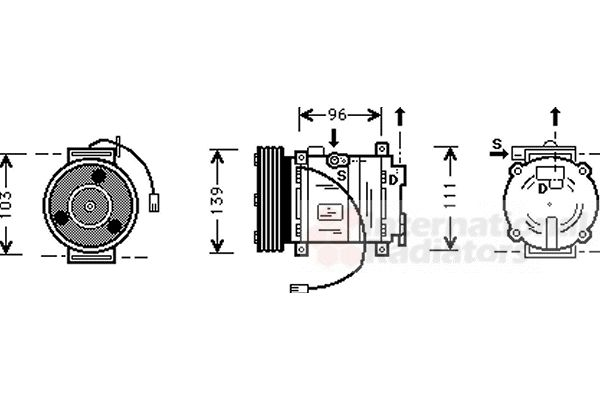 Compresseur, climatisation - VAN WEZEL - 2700K007