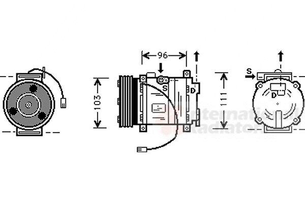 Compresseur, climatisation - VAN WEZEL - 2700K133