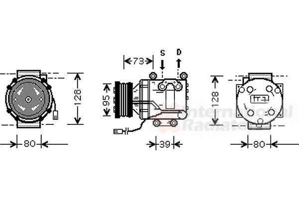Compresseur, climatisation - VAN WEZEL - 2700K170