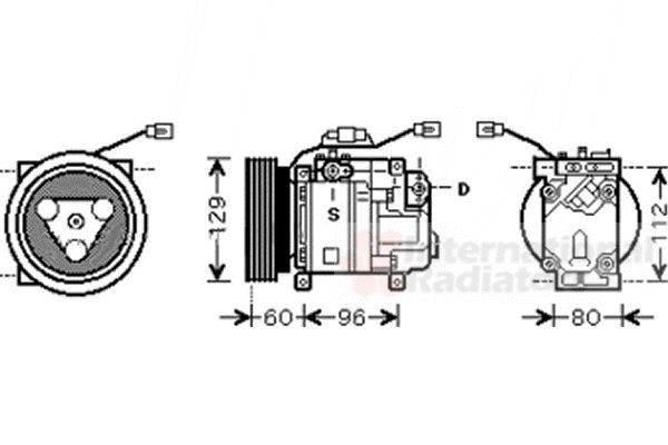 Compresseur, climatisation - VAN WEZEL - 2700K202