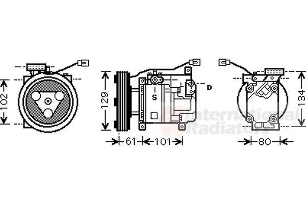 Compresseur, climatisation - VAN WEZEL - 2700K207