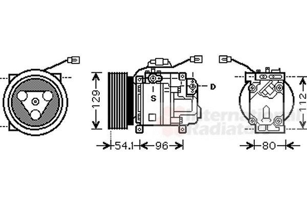 Compresseur, climatisation - VAN WEZEL - 2700K233