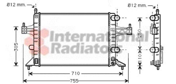 Radiateur, refroidissement du moteur - VAN WEZEL - 37002303