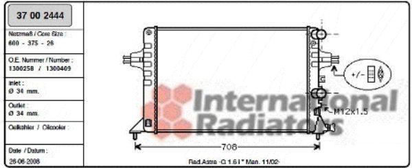Radiateur, refroidissement du moteur - VAN WEZEL - 37002444