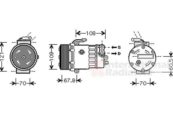 Compresseur, climatisation - VAN WEZEL - 3700K139