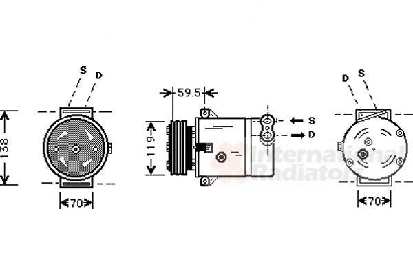 Compresseur, climatisation - VAN WEZEL - 3700K273
