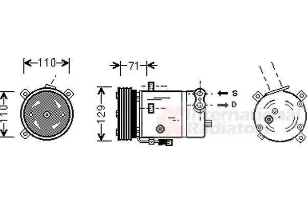 Compresseur, climatisation - VAN WEZEL - 3700K276