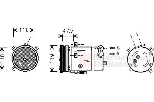 Compresseur, climatisation - VAN WEZEL - 3700K277