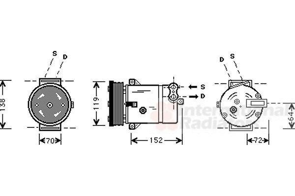Compresseur, climatisation - VAN WEZEL - 3700K279