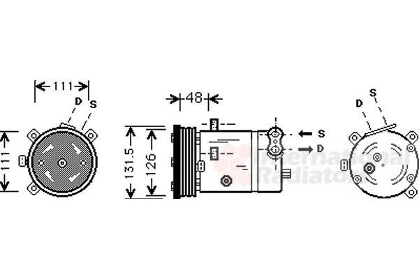 Compresseur, climatisation - VAN WEZEL - 3700K280
