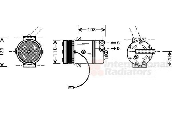 Compresseur, climatisation - VAN WEZEL - 3700K287