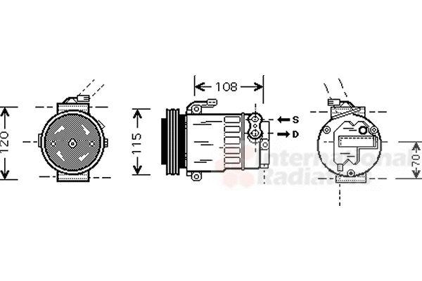 Compresseur, climatisation - VAN WEZEL - 3700K312