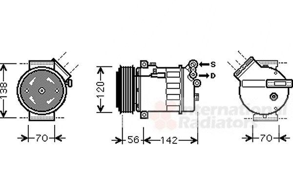 Compresseur, climatisation - VAN WEZEL - 3700K313