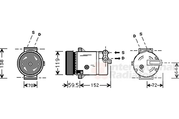 Compresseur, climatisation - VAN WEZEL - 3700K318