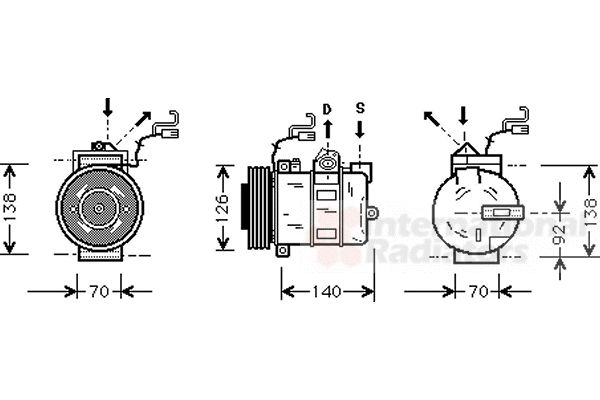 Compresseur, climatisation - VAN WEZEL - 3700K327