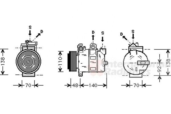 Compresseur, climatisation - VAN WEZEL - 3700K356