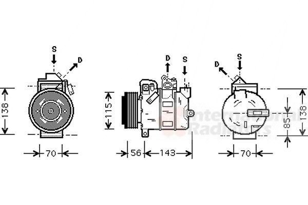 Compresseur, climatisation - VAN WEZEL - 3700K357