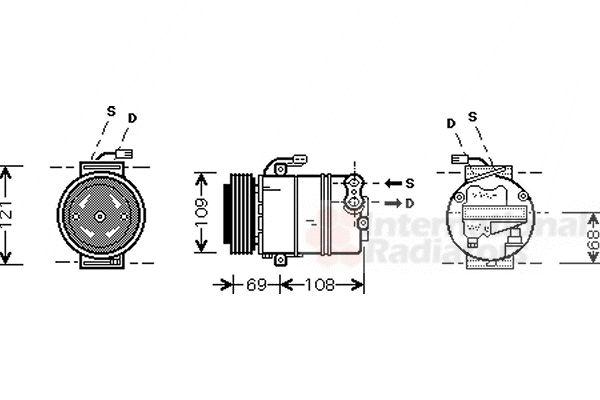 Compresseur, climatisation - VAN WEZEL - 3700K358