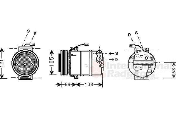 Compresseur, climatisation - VAN WEZEL - 3700K373