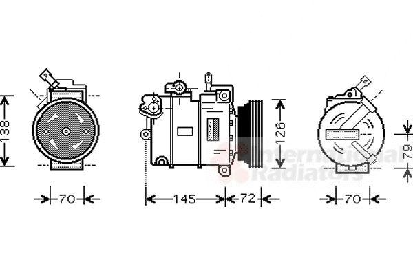 Compresseur, climatisation - VAN WEZEL - 3700K376