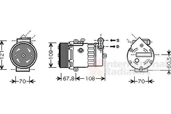 Compresseur, climatisation - VAN WEZEL - 3700K377