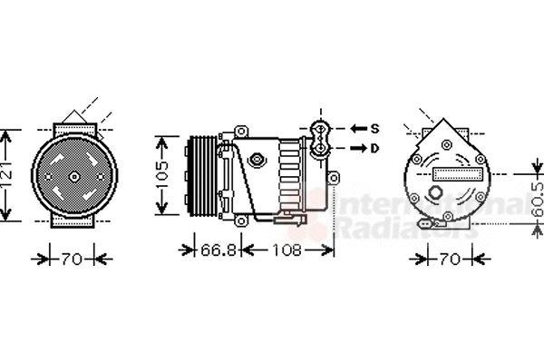 Compresseur, climatisation - VAN WEZEL - 3700K389
